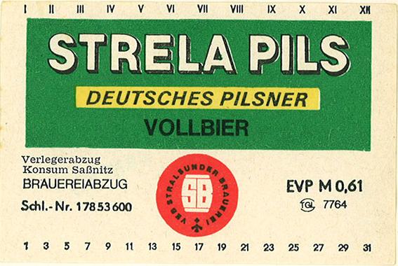 Etikett vom früheren Strela Pils