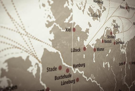 Ehemalige Handelsrouten der Hansezeit