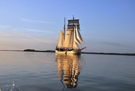 Die Weisse Düne auf dem Achterwasser.