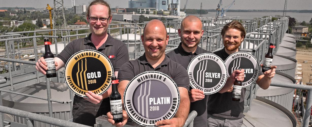 Platin, Gold und Silber: Craft Beer Award für Störtebeker Eisbock-Biere.