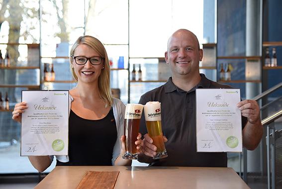 Vertreten Deutschland bei der Biersommelier-WM: Elisa Raus und Christoph Puttnies