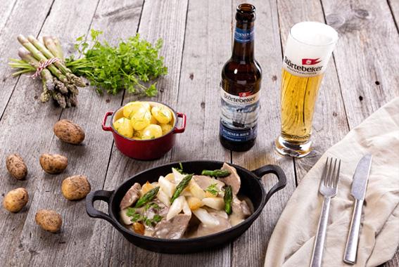 Beitrag: Unsere Empfehlung zum Pilsener-Bier: Kalbsragout mit weißem Spargel