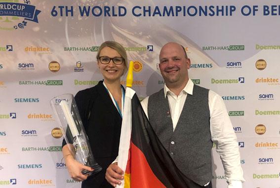 Elisa Raus und Christoph Puttnies traten gegen 80 Biersommliers aus der ganzen Welt an.